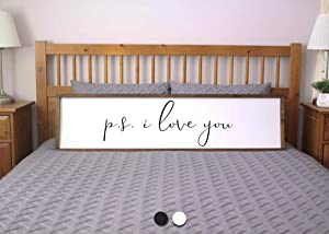 bawansign PS I Love You Sign for Bedroom Farmhouse Sign Framed Sign Farmhouse Bedroom Rustic Wall Decor Sign for Above Bed