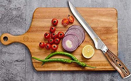 Cuchillo de deshuesado de 6 pulgadas- Cuchillo de chef profesional de Damasco con acero Súper Damasco y cómoda manija de madera