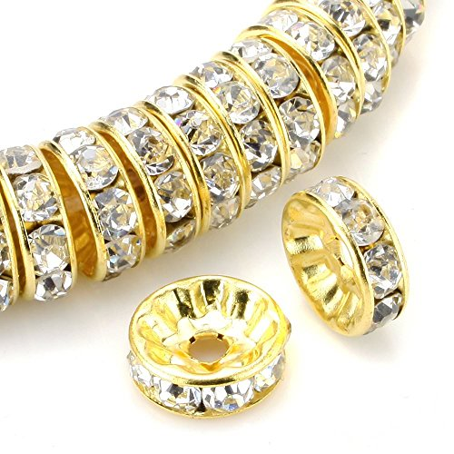 100pcs 10mm 14k Gold Plated Copper Brass Rondelle Spacer Round Loose Beads Clear Austrian Crystal Rhinestone for Jewelry Crafting Making CF4-1001