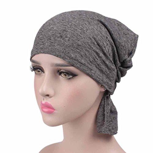 Fabal Women Cancer Chemo Hat Beanie Scarf Turban Head Wrap Cap (Gray) (Scarf Wrap Head Turban)