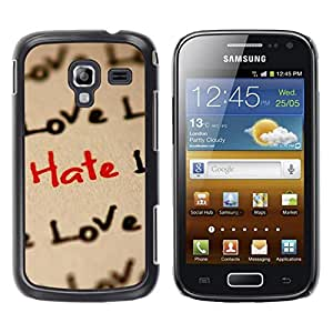 LECELL -- Funda protectora / Cubierta / Piel For Samsung Galaxy Ace 2 I8160 Ace II X S7560M -- Love Hate Love Pattern --