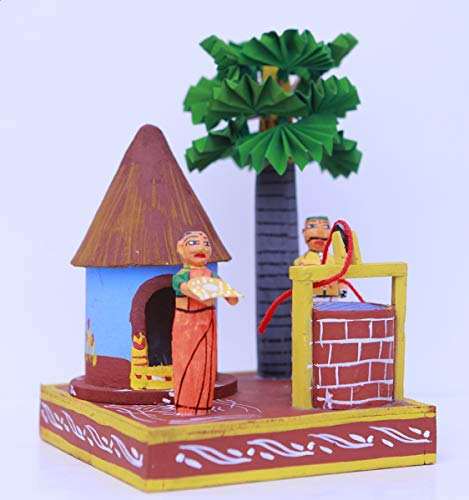 Andhra Hand Crafts Kondapalli Handmade Wooden Snakranti with Tree and Well All in One