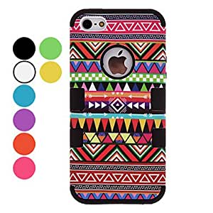 Mini - Defender Series Ethnic Style Hard Case with Interior Silicone Back Cover for iPhone 5/5S (Optional Colors) Color: Rose