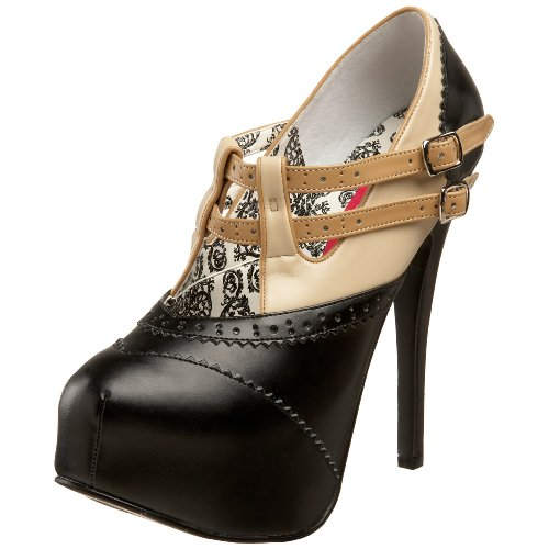 Pleaser Bordello By Women's Teeze-24 Platform Pump Black/Beige Pu YBSzsGNd
