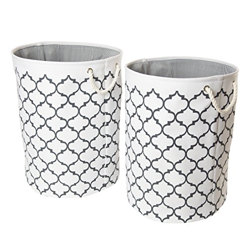 Seville Classics Large Round Fabric Laundry Hamper, Set of 2, Moroccan Lattice Print