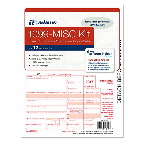 1099 Kit - Adams 1099 MISC Tax Forms for 2017 - 5-part form sets for 12, 1096 summary, 12 envelopes and access to Adams TFH Online (TXA12517) Made in the USA