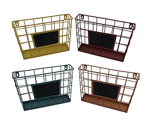 Set of 4 Colored Metal Wire Wall Mounted Baskets w/Chalkboard (Baskets Storage Wire Coloured)