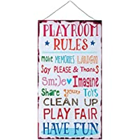 Kids Room Playroom Rules Hanging Wall Plaque Sign for Kid...