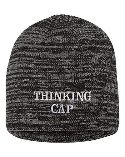 Go All Out One Size Black/Dark Grey Adult Thinking Cap Embroidered Marled Knit Beanie Cap -