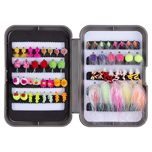 Bassdash Trout Fishing Flies Assortment 58pcs Include Dry Wet Flies Nymphs Streamers, Fly Lure Kit with Fly Box (57 pcs Assorted Steelhead/Salmon/Trout Flies)