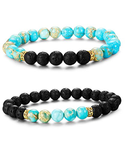 LOYALLOOK 2Pcs Couples Bracelet His and Hers Black Lava Stone & Turquoise Bead Oil Diffuser Bracelet Turquo