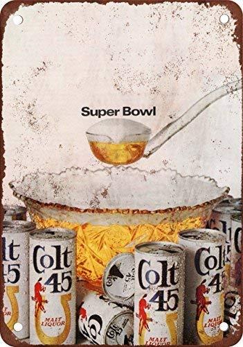 1968 Colt 45 Malt Liquor and Super Bowl Vintage Look Reproduction Metal Tin Sign Outdoor Decor Aluminum Sign for Garage - Bowl Super Sign