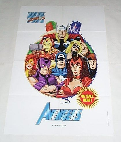 1999 George Perez Avengers Marvel Comics Shop 1990's Promo Poster:Captain America/Thor/Iron Man -