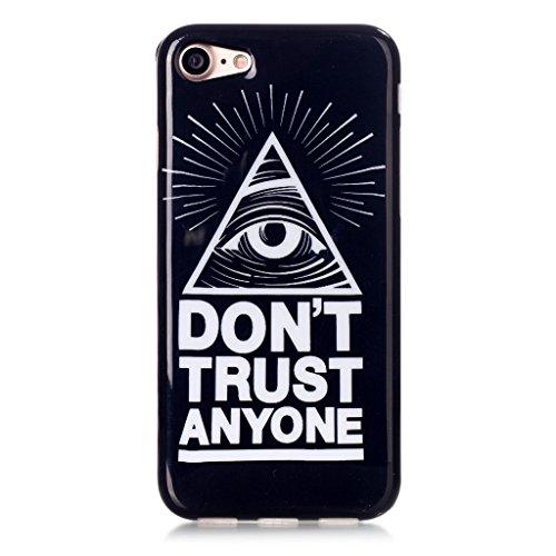 "Coque iPhone 7, IJIA Ultra-mince Deux Oeil Lumière (DON'T TRUST ANYONE) TPU Doux Silicone Bumper Case Cover Coque Housse Etui pour Apple iPhone 7 (4.7"") + 24K Or Autocollant"