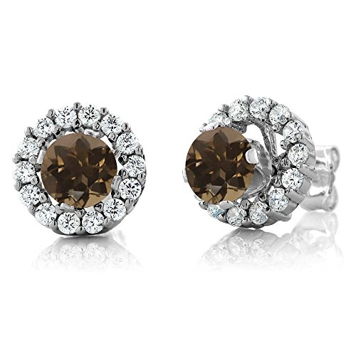1.31 Ct Round Brown Smoky Quartz 925 Silver Stud Earrings with Jackets ()