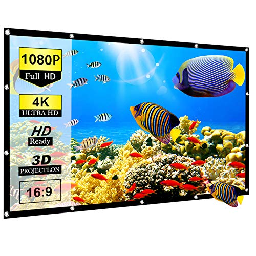 Ylife 120 Inch Projector Screen, 16:9 HD 4K No Crease Portable Video Projection Movie Screen Grommets for Home Theater Outdoor