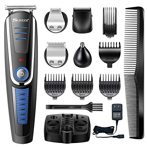 Surker Hair clippers for Men – 5 In 1 Pro Cordless Hair Trimmer Beard Trimmer Shaver Precision Trimmer Nose Hair Trimmer Rechargeable Waterproof
