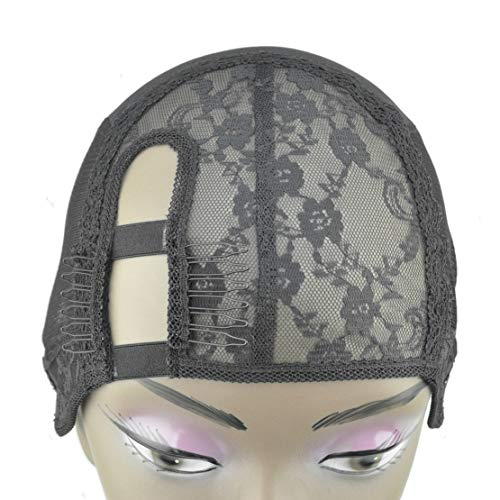 GEX Wig Cap Foundation Left U Part for Making Wig Sewing Hair Bundles Cap with 2 Lace Wraped Clip Combs (M size)