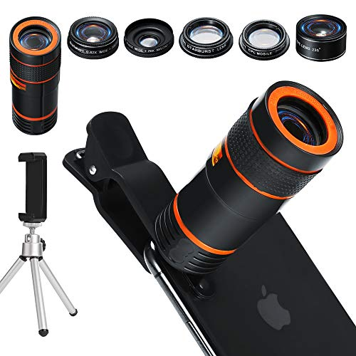 6-in-1 Cell Phone Camera Lens Kit, 12x Telephoto Zoom Lens, 0.62x Wide Angle & 20x Macro, 235° Fisheye, Starburst, and Professional CPL Lens+ Phone Holder & Tripod for iPhone X/8/7/6/6s Plus, Android, by Distianert