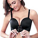Add Two Cups Bras For Women Super Lifted Extreme Push Up Padded Unlined Sexy Brassiere By Bluewhalebaby Black US Size 36B = Tag 38B