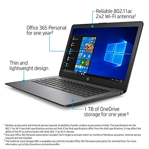 HP Stream 14-inch Laptop, AMD Dual-Core A4-9120E Processor, 4 GB SDRAM, 64 GB eMMC, Windows 10 Home in S Mode with Office 365 Personal for One Year (14-ds0060nr, Brilliant Black)