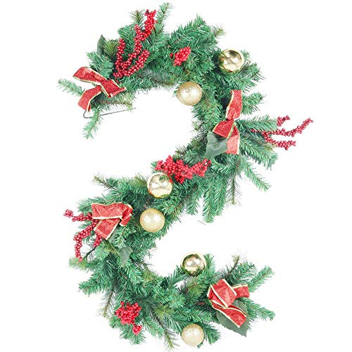 HEBE 6ft Christmas Garland Decorations Christmas Garland with Red Berries Bow Knots and Christmas Balls Artificial Vine Garland for Christmas Fireplace Mantle Stairs Front Door (Fireplace Garlands For Christmas)