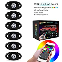 CAR ROVER LED Rock Light Kits with 6 Pods RGB Lights for Jeep Off Road Truck ATV SUV RZR Boat Underbody Glow Trail Rig Lamp Waterproof