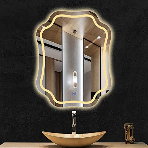 YANGMAN-L LED Lighted Bathroom Mirror Wall Mounted Energy Efficient Illuminated Anti-Fog Flower - Bathroom Silver Mirrors 24×36