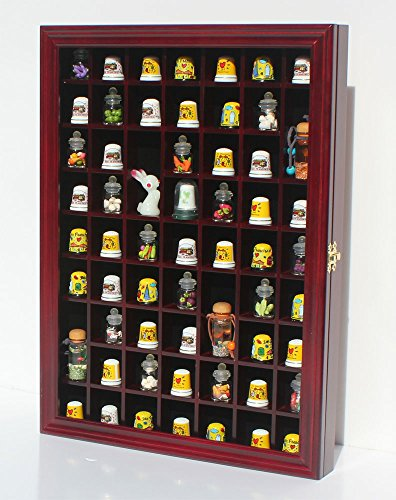 Wood Thimble (59-Opening Souvenir Thimble Small Miniature Display Case Cabinet Rack Holder, Glass Door, LOCKABLE (Cherry Finish))