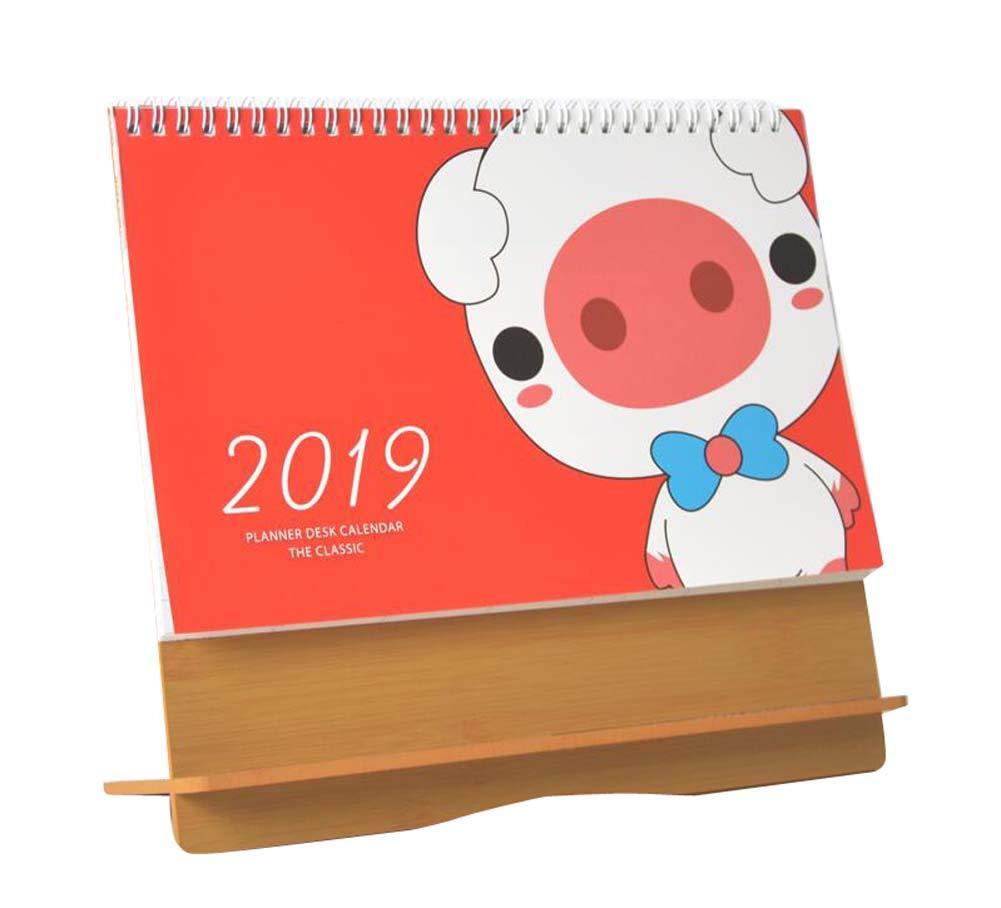 Monthly Desktop Daily Planner Agosto 2018 - Dicembre 2019 Calendario da tavolo Black Temptation