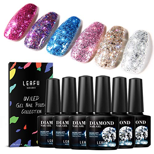 Polish Collection - Glitter Gel Nail Polish Set - 6PCS 0.33 OZ UV LED Soak Off Gel Polish Collection of Red Pink Purple Blue Gold Silver Colors in Gift Package by Modelones