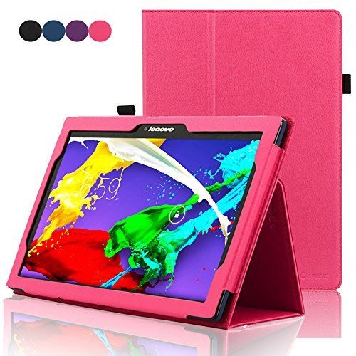 Free ACdream Lenovo Tab 2 A10 & Lenovo Tab3 10 Business Case, Folio Leather Cover Case for Lenovo Tab 2 A10-70 & Lenovo Tab3 10 Business / Lenovo TB-X103F Case with auto wake sleep feature, Hot Pink