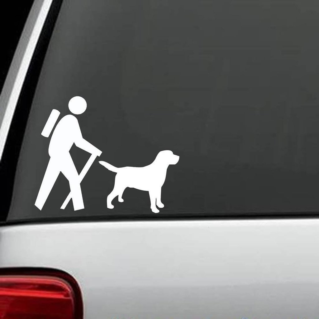 Amazon com cci095 hiker with labrador dog camp camper camping decal sticker 6 2 x 5 in automotive