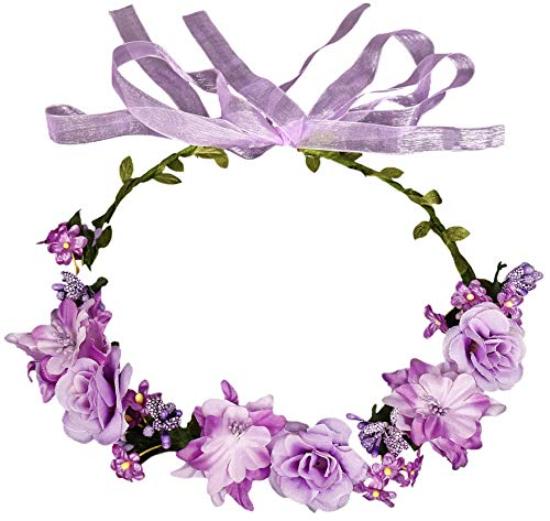 Flower Crown Floral Girls Headband - Purple Headpiece Womens Wedding Bridal - Wreath Artificial Silk Roses Boho