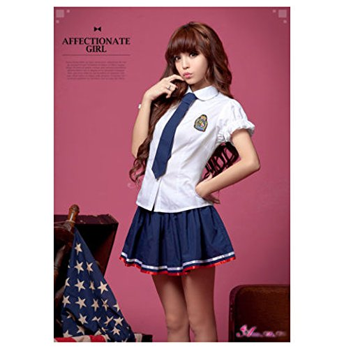 Anna Mu Blue & White School Girl Uniform Cosplay Costume Set With Long Tie(NA10030086)
