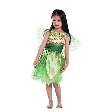 Amosfun Niños Traje de Hadas de Flores Elfo Cosplay Vestido de ...