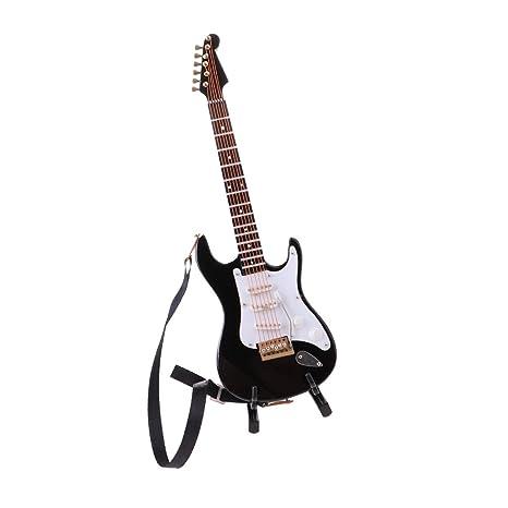 Baoblaze Escala 1/6 Mini Modelo de Guitarra Eléctrica de 6 Cuerdas de Madera con
