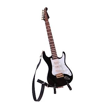 Baoblaze Escala 1/6 Mini Modelo de Guitarra Eléctrica de 6 Cuerdas de Madera con Soporte Decoración de Dollhouse - Negro A: Amazon.es: Juguetes y juegos
