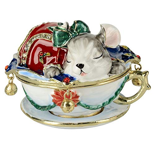 Womanloves Vintage Decoration Box Mouse Animal jewerly Trinket Box Ring Box