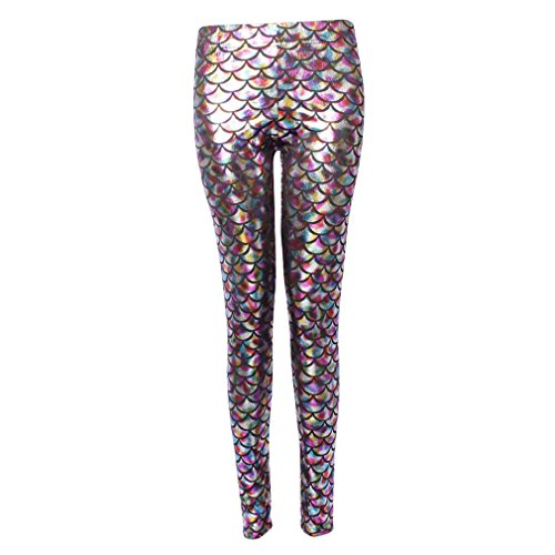 Hologram Mermaid Donna Fish Scale Leggings 200 Ml Stretch Sexy Shine Hibote Soft THIBAqnw
