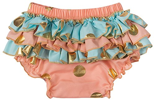 Baby Bloomers Infant Ruffle Shorts Girl Underwear Diaper Cover Gold Dot Briefs for Toddler Peach Mint 12-18 Months ()