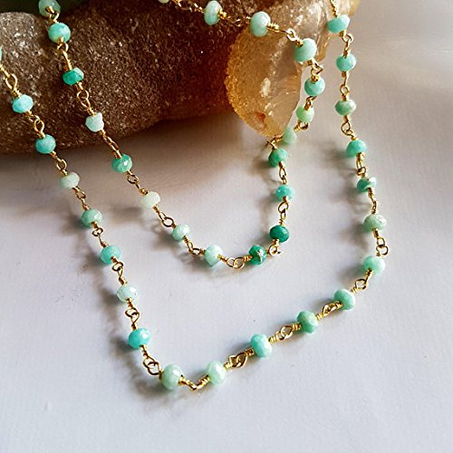 Gold Plated Chain Amazonite faceted Rondelle beads Wire Warped Rosary Chain by Foot 2 mm Approx Rondelles M No.- 2238