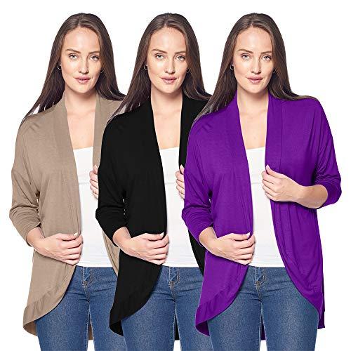 3 Pack of Women's 3/4 Sleeve Cardigans - Elegant Curved Hem Cocoon Cardigan (Large, Black, Mocha & Purple)