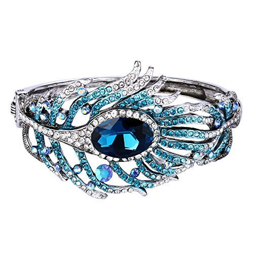 EVER FAITH Silver-Tone Austrian Crystal Vintage Style Peafowl Feather Bangle Bracelet Blue