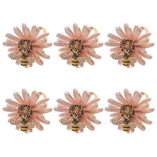 SCTD Daisy Flower Napkin Rings - Set of 6 Metal Napkin Ring Holders for Wedding Party and Daily Use, a Beautiful Complement to Your Dinner Table Décor (Pink New)