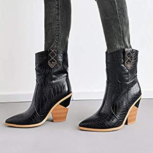Razamaza Women Western Boots High Heel Mid Boots Pointed Toe Snake Print Boots Slip On Wide Calf Boots Black Size 39 Asian Amazon Com Au Fashion