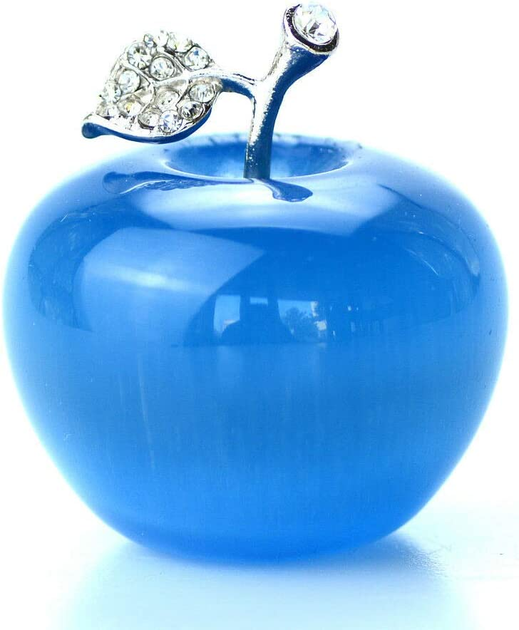 1.8'' Blue Cat's Eye Crystal Apple Paperweight Figurine Carving Gift Opal Apples