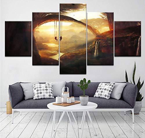 - FEISENWLH Five Panel pantings Art Picture Living Room Home Decor Children's Poster Modern 5 Panel Fantasy World Sunset Swing Wall HD Print Painting Artwork