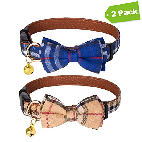 EXPAWLORER 2 Pack Bowtie Dog Collar with Bell - Cute Plaid Removable Bow Tie Adjustable from 11