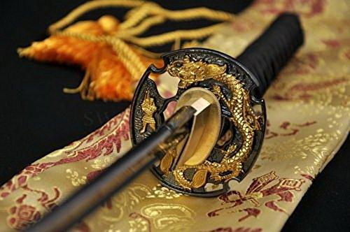 "41"" Handmade Japanese Samurai Sword Katana Dragon Full Tang Blade Black Battle Ready"
